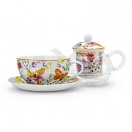 Dzbanek do herbaty i kawy szklany z zaparzaczem i filiżanką DUO CUBIC BIAŁY 0,35 l