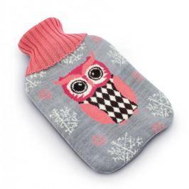 Termofor gumowy w sweterku / pokrowcu SÓWKA SZARY 2 l