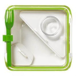 Lunch box plastikowy dwukomorowy z widelcem i pojemnikiem na sos BLACK BLUM BOX APPETIT ZIELONY