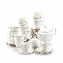 Serwis kawowy porcelanowy MARIAPAULA ECRU ZŁOTA LINIA na 12 osób (39 el.)