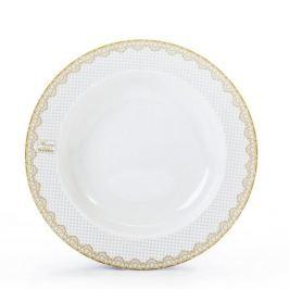 Talerz obiadowy głęboki porcelanowy CHODZIEŻ SWEET KROPKI BIAŁY 22,5 cm