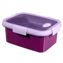 Lunch box plastikowy ze sztućcami i pojemnikiem na sos CURVER SMART TO GO PROSTOKĄTNY FIOLETOWY 1,2 l