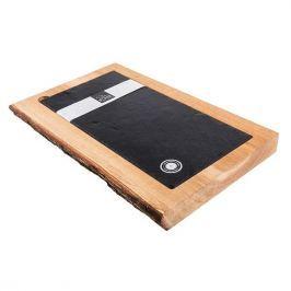 Deska do serwowania serów i przekąsek z talerzem SLATEPLATE WOOD AND SLATE PÓŁ NA PÓŁ 60 x 30 cm