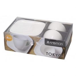 Filiżanki do kawy i herbaty porcelanowe ze spodkami AMBITION TOKYO BIAŁE 200 ml 2 szt.