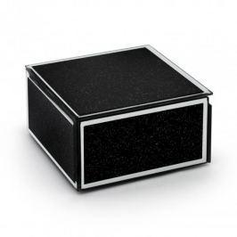 Szkatułka na biżuterię szklana DUO BLACK GLITTER CZARNA