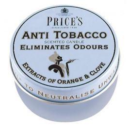 Świeca zapachowa woskowa w puszce neutralizująca przykre zapachy PRICE'S CANDLES ANTI TOBACCO NIEBIESKA