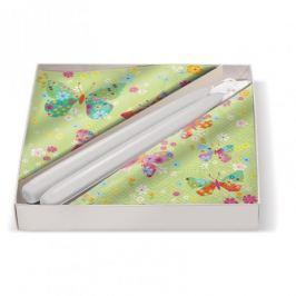 Serwetki dekoracyjne papierowe ze świecami stożkowymi PAW BUTTERFLIES ZIELONE 20 szt.