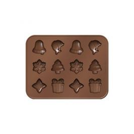 Forma do 12 czekoladek silikonowa ze stojakiem TESCOMA DELICIA CHOCO ŚWIĘTA BRĄZOWA