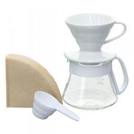 Dripper do kawy z dzbankiem szkalnym HARIO DRIPPER AND POT WHITE V60