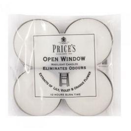 Świeczki zapachowe tealihgt woskowe neutralizujące przykre zapachy PRICE'S CANDLES OPEN WINDOW BIAŁE 4 szt.