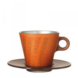 Filiżanka do kawy i herbaty szklana ze spodkiem LEONARDO OCH MAGICO POMARAŃCZOWA 250 ml