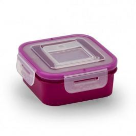Pojemnik na żywność plastikowy BRANQ QLOCK SQUARE FIOLETOWY 0,4 l
