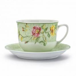 Filiżanka do kawy i herbaty porcelanowa ze spodkiem LUBIANA WIEDEŃ KOLOROWE KWIATY BIAŁA 300 ml