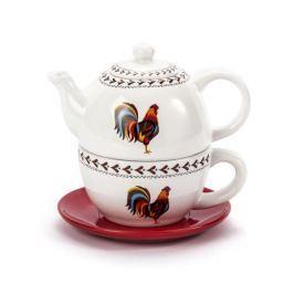 Dzbanek do herbaty i kawy ceramiczny z filiżanką i spodkiem DUMNY KOGUCIK BIAŁY 0,4 l