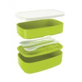 Lunch box plastikowy dwukomorowy ze sztućcami ZAK MEAL ZIELONY