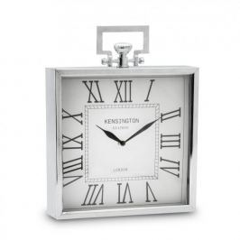 Zegarek stojący metalowy DUO KWADRAT MAX SREBRNY