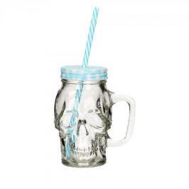 Słoik do koktajli i smoothie szklany DRINK JAR CZASZKA NIEBIESKI 0,42 l