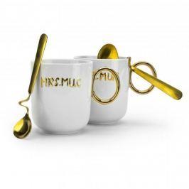Kubki porcelanowe z łyżeczkami FLORINA MR&MRS SILVER GOLD BIAŁE 350 ml