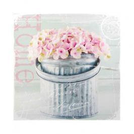 Obraz na płótnie MONDEX PINK FLOWERS SZARY 28 x 28 cm