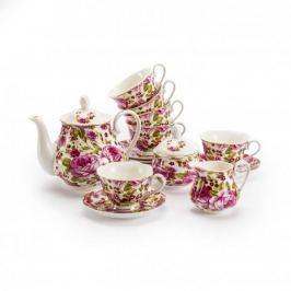 Serwis kawowy porcelanowy RÓŻANY OGRÓD RÓŻOWY na 6 osób (15 el.)
