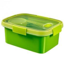 Lunch box plastikowy ze sztućcami i pojemnikiem na sos CURVER SMART TO GO PROSTOKĄTNY ZIELONY 1,2 l