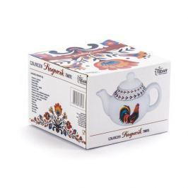 Dzbanek do herbaty i kawy ceramiczny DUMNY KOGUCIK BIAŁY 0,75 l