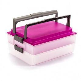 Pojemnik na ciasto dwupoziomowy plastikowy DOMOTTI DOLCE PODWÓJNY RÓŻOWY 39 x 28,5 cm