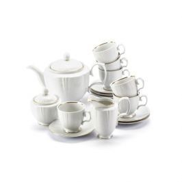 Serwis kawowy porcelanowy MARIAPAULA GEOMETRIA ZŁOTA LINIA na 6 osób (15 el.)