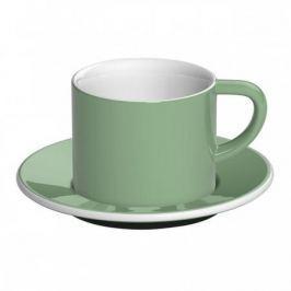 Filiżanka do kawy i herbaty porcelanowa ze spodkiem LOVERAMICS BOND CAPPUCCINO ZIELONA 150 ml