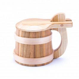 Kufel do piwa drewniany z klapką TOAST 500 ml