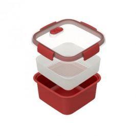 Pojemnik do mikrofali plastikowy CURVER MICROWAVE KWADRATOWY CZERWONY 1,1 l