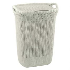 Brudownik / Kosz na pranie i bieliznę plastikowy CURVER KNIT WYSOKI KREMOWY 57 l