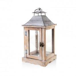 Lampion ozdobny drewniany MONDEX VICTOR BEŻOWY 38 cm