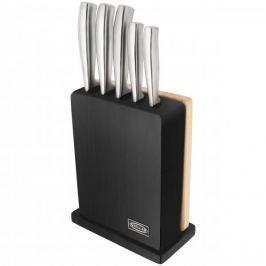 Noże kuchenne ze stali nierdzewnej w bloku z deską do krojenia STELLAR JAMES MASRTIN CZARNE 5 szt.