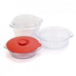 Garnek do gotowania na parze ceramiczny z pokrywką PYREX BIAŁY 1,8 l