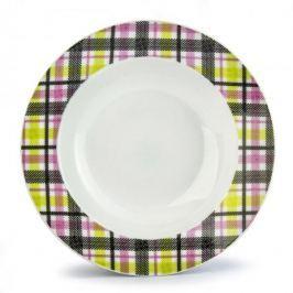 Talerz obiadowy głęboki ceramiczny KRATKA BIAŁY 21,5 cm