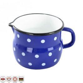 Kubek emaliowany / Garnek do gotowania mleka z dziobkiem beczułka GROSZKI 1,2 l