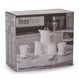 Serwis kawowy porcelanowy HOME DELUX QUATRE BIAŁY na 6 osób (21 el.)