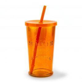 Szklanka do napojów szklana ze słomką SUMMER PARTY NIEBIESKA 460 ml