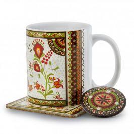 Kubek ceramiczny z podkładką i magnesem NANAELO KWIATY W RAMCE KOLEKCJA PODHALAŃSKA 290 ml