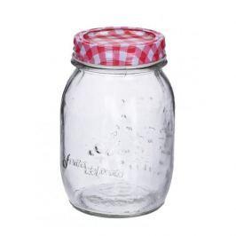 Słoik na przetwory szklany CZERWONA KRATKA 0,5 l