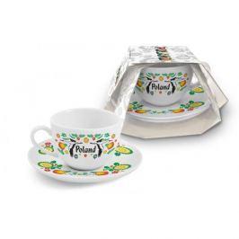 Filiżanka do kawy i herbaty ceramiczna ze spodkiem CERAMIKA TUŁOWICE BOCIAN POLAND FOLKLOR BIAŁA 200 ml