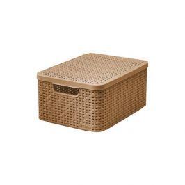 Koszyk z pokrywką plastikowy CURVER STYLE M JASNOBRĄZOWY