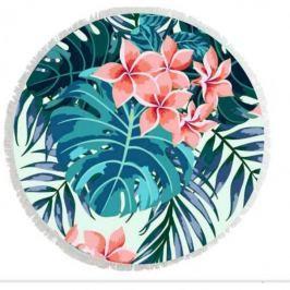 Ręcznik plażowy okrągły boho z frędzlami poliestrowy ECARLA FLOWERS WIELOKOLOROWY 150 cm