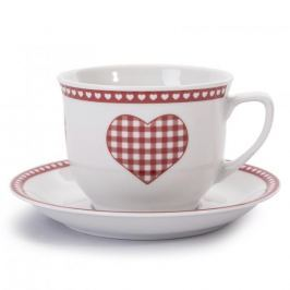 Filiżanka do kawy i herbaty porcelanowa ze spodkiem LUBIANA WIEDEŃ BIAŁA 350 ml