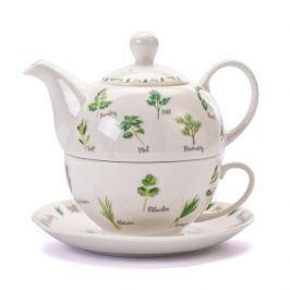 Dzbanek do herbaty i kawy ceramiczny z filiżanką i spodkiem HERBAL ZIOŁA BIAŁY 0,36 l