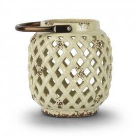 Lampion ozdobny ceramiczny DUO CIRCLE KREMOWY 17 cm