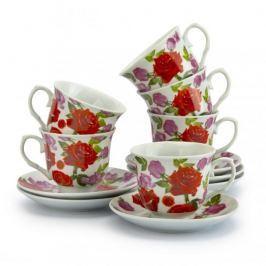 Filiżanki do kawy i herbaty ceramiczne ze spodkami MARIA ROSA BIAŁE 220 ml 6 szt.