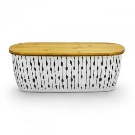Chlebak bambusowy z deską do krojenia ODELO LISTKI BEŻOWY