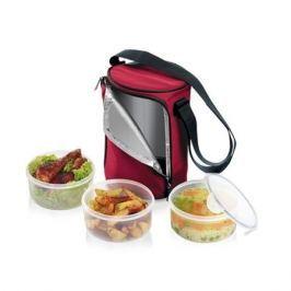 Pojemniki na żywność plastikowe w torbie termoizolacyjnej TESCOMA FRESHBOX CZERWONE 1,5 l 3 szt.